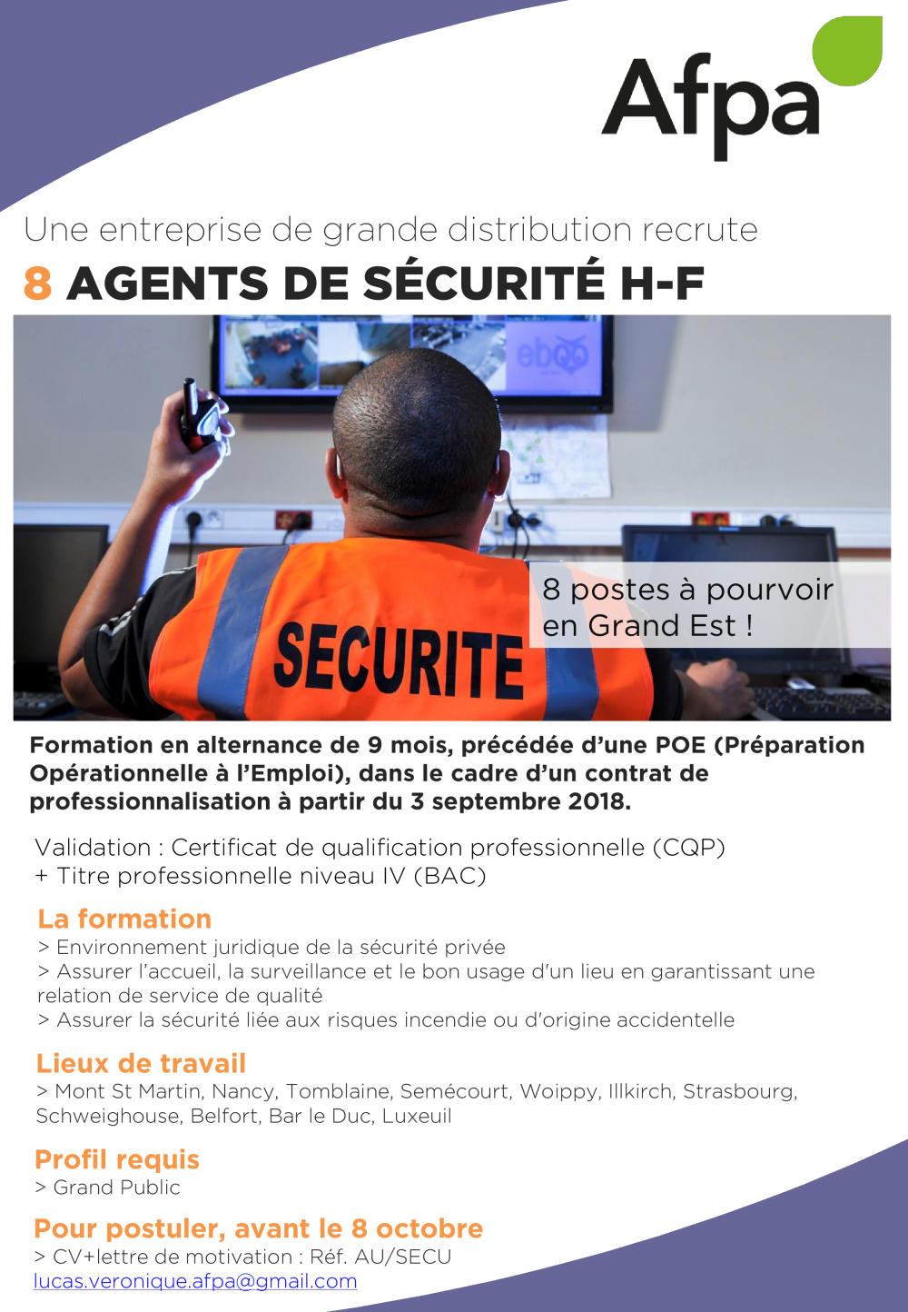 Affiche Cpro Agent De Sécurité Auc Véronique Lucas Afpa