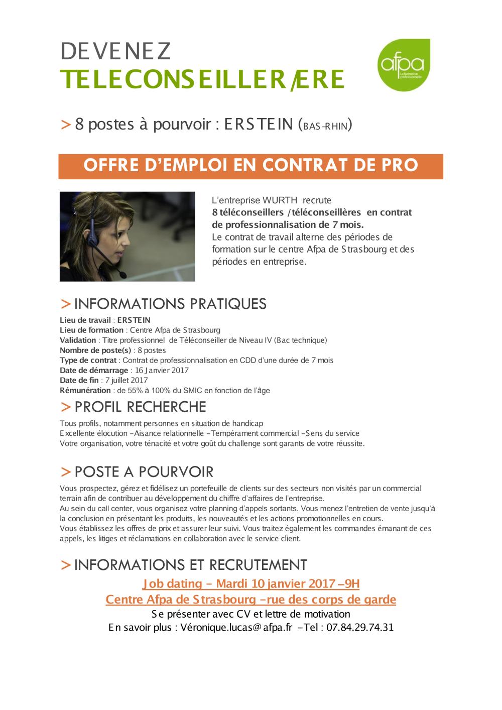 Contrat De Pro Téléconseiller Wurth France Pdf Afpa