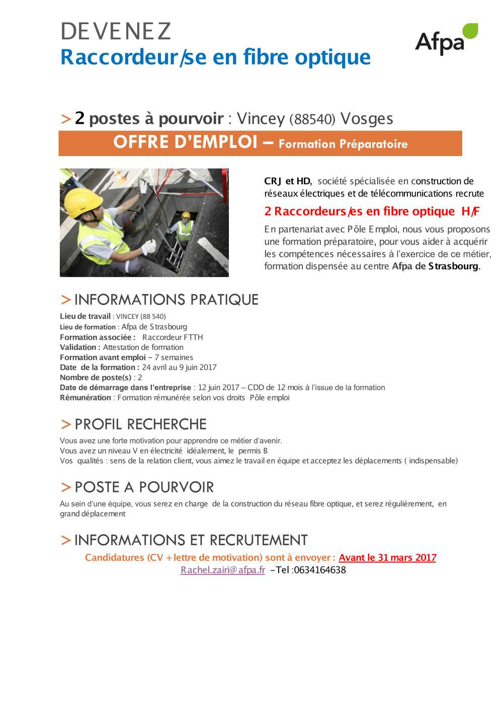 Poei Raccordeur En Fibre Optique Crj Et Hd Vosges Pdf Afpa